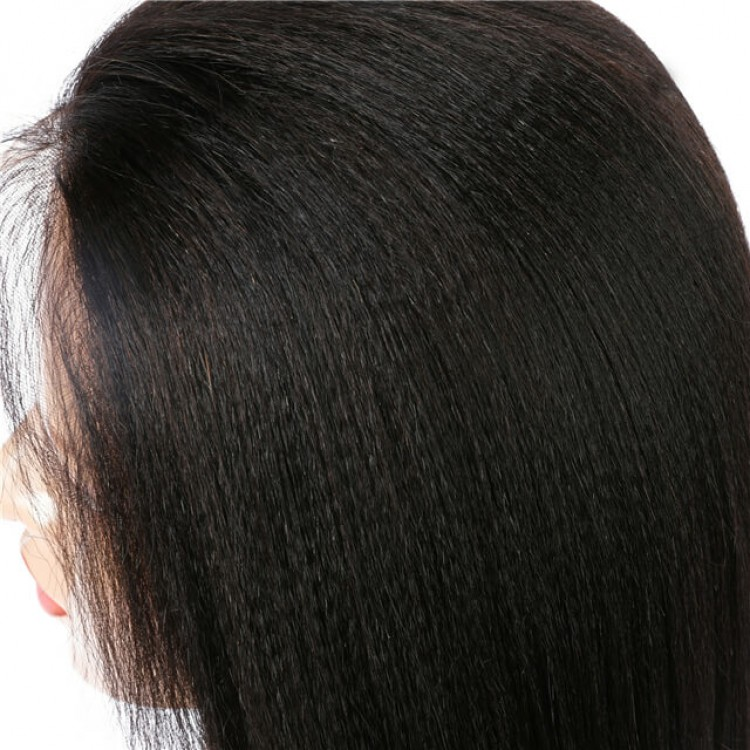 Yaki Straight Human Hair Lace Front Wigs Free Part