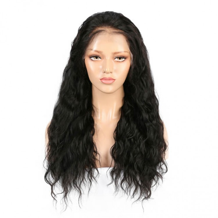 Long Water Wave Black Free Part Lace Front Wigs