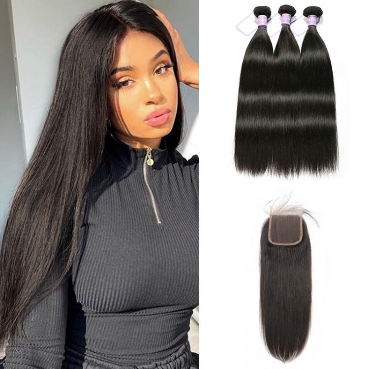 Peruvian human hair bundles with Closure