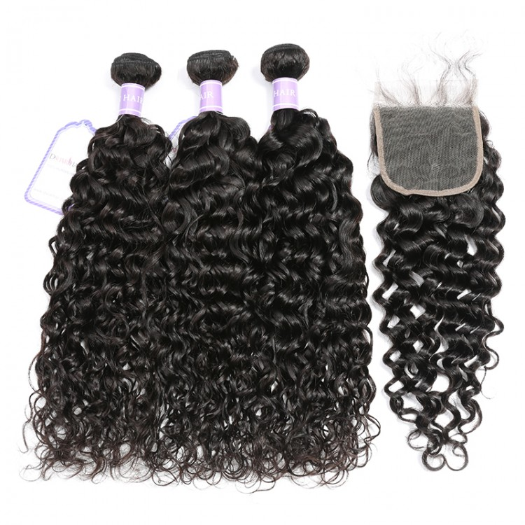 Malaysian Natural Wave Weave Hair 3 Bundles With Lace Closure