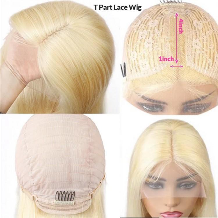 straight t part human hair wig