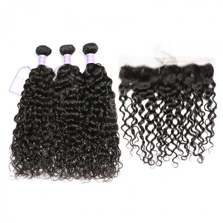 Natural Wave Sew In 3 Bundles And Lace Frontal Deal
