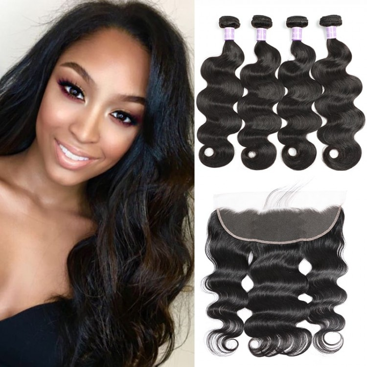 4 Bundles Brazilian Body Wave With 4x13 Lace Frontal Closure