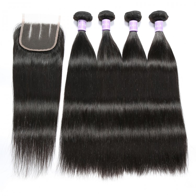 4bundles straight human  hair with closure