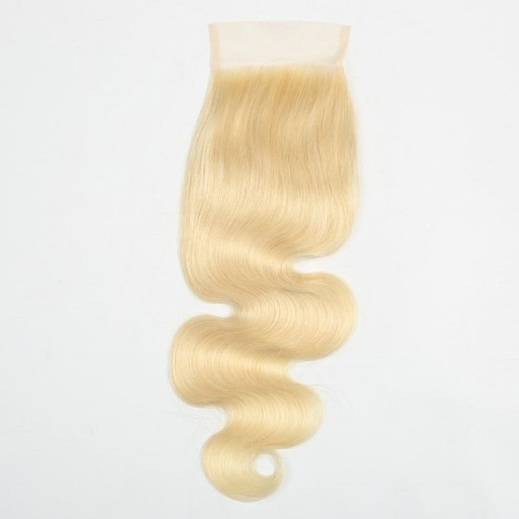 613 Blonde Hair 4 Bundles With Lace Closure