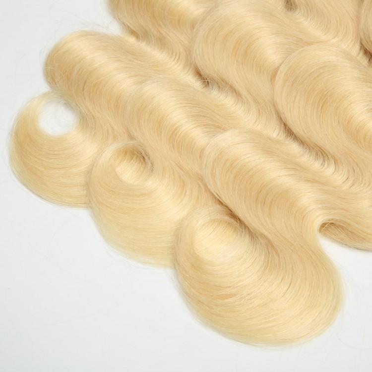 blonde human hair weft