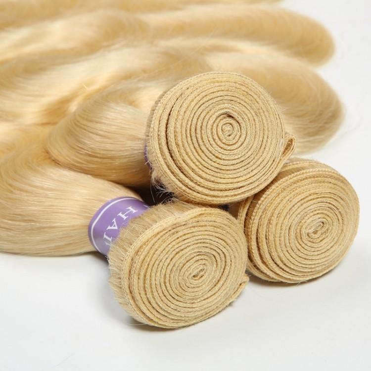 Blonde Body Wave 3 Bundle Deals With Closure