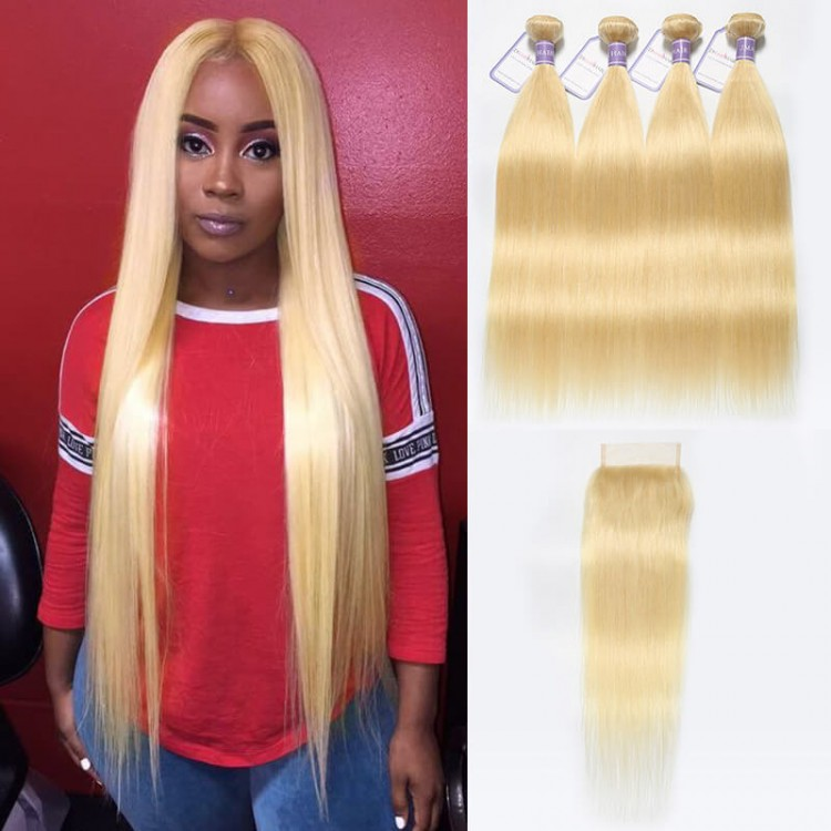 613 Blonde Lace Closure With 4 Bundles Malaysian Straight Virgin Hair
