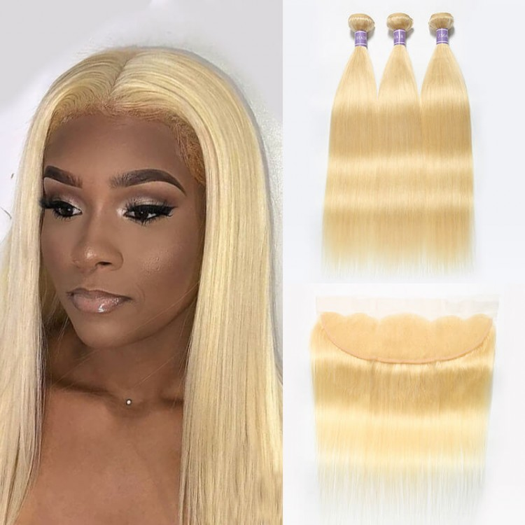 Brazilian Straight Hair 613 Blonde Weave 3 Bundles With Lace Frontal