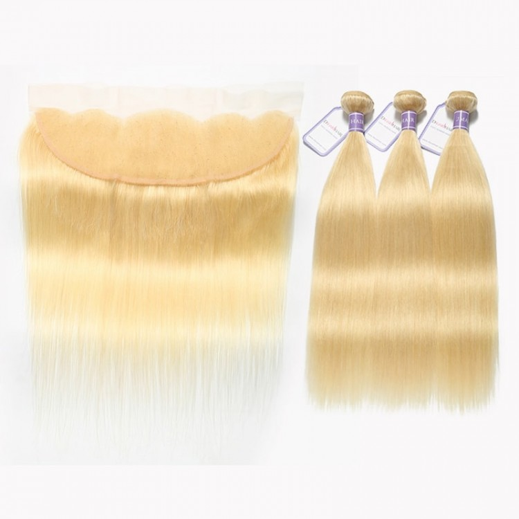 613 straight hair blonde lace frontal with bundles