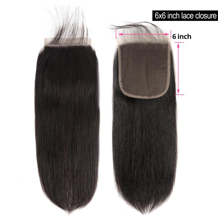 human hair straight closure
