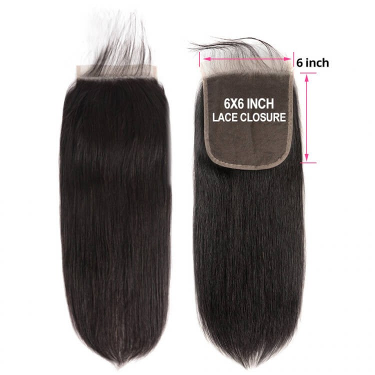 straight human hair closure