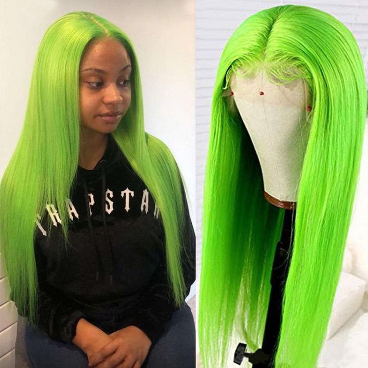 Green Straight Lace Front Wigs Middle Part With Baby Hair