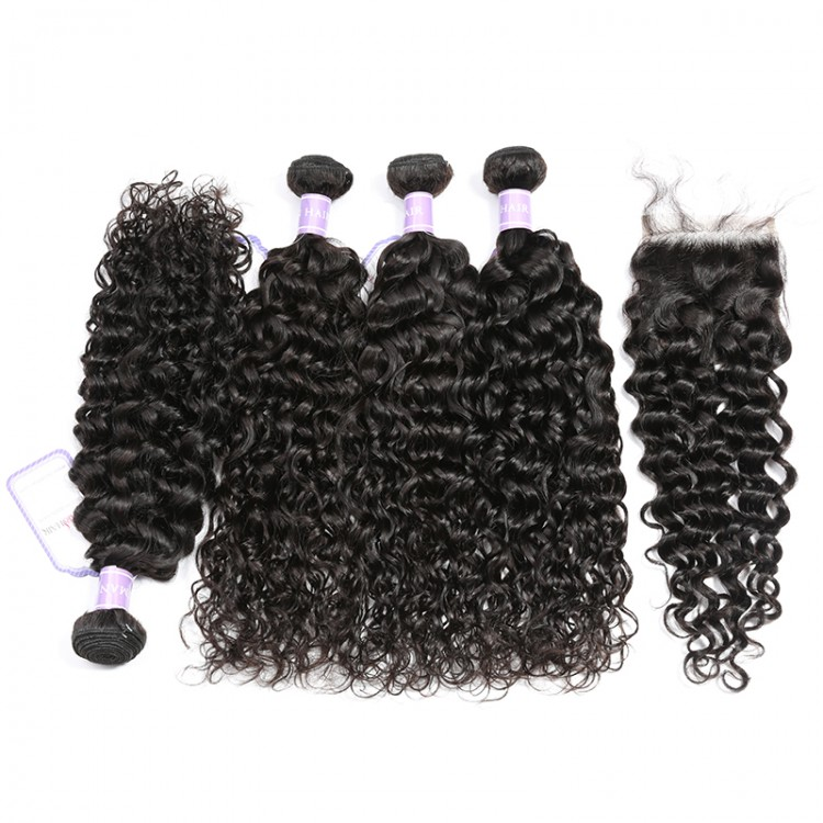 Malaysian Natural Wave Weave 4 Bundles With Lace Closure 4x4 Inch