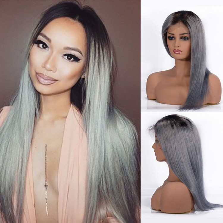 T1B/Grey Straight Lace Front  Human Hair Wigs