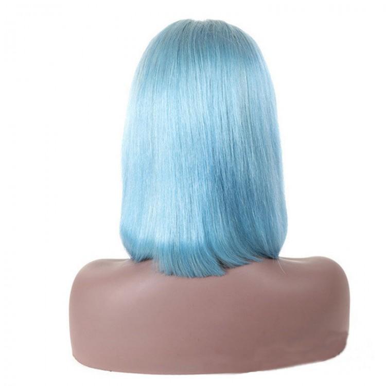 Full Lace Human Hair Sky Blue Straight Blunt Cut Bob Wigs