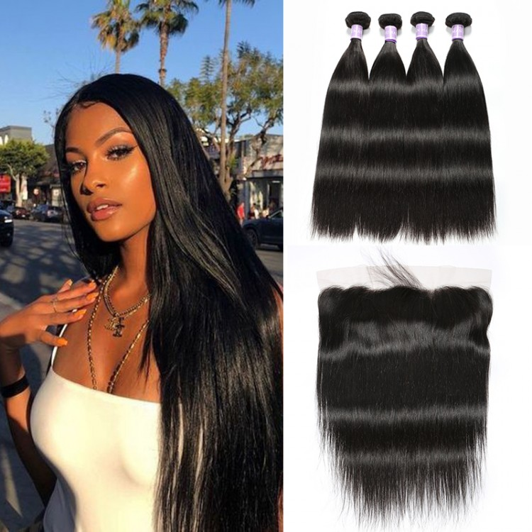 Brazilian Straight Hair 4 Bundles With Lace Frontal