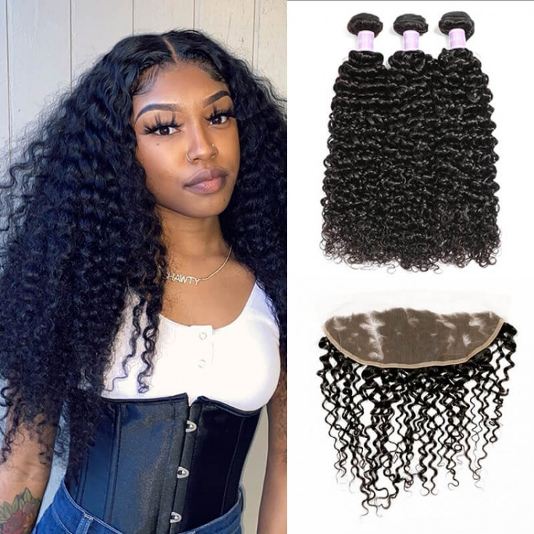 Curly Hair Weave 3 Bundles Deals With Lace Frontal