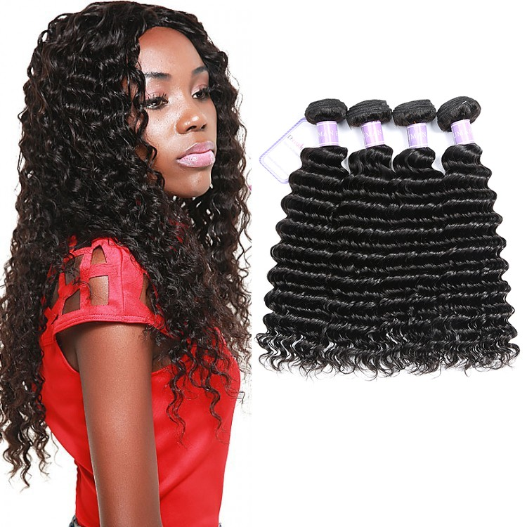 Deep Wave 4 Bundles Virgin Human Hair Natural Black
