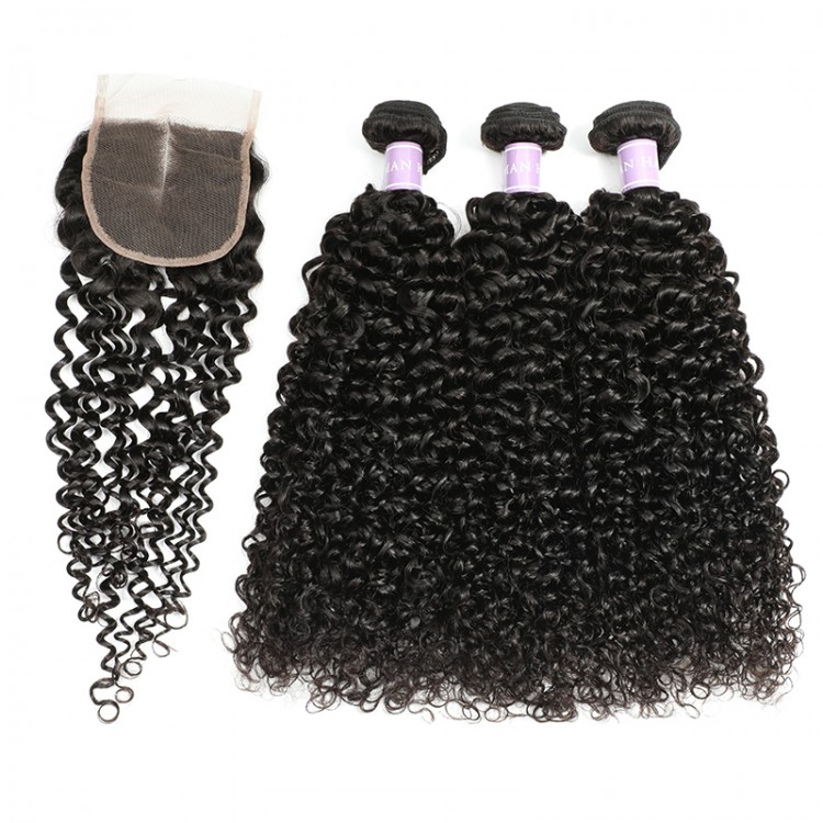 Malaysian curly hair with closure