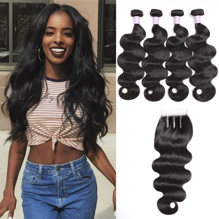 DSoar Hair Body Wave Lace Closure With 4pcs Remy Hair