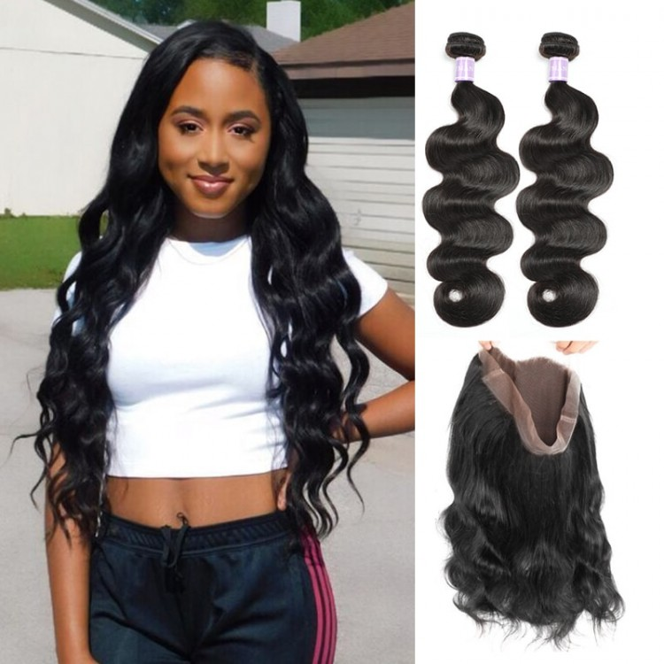 Indian Body Wave 360 Lace Frontal Closure With 2 Bundles