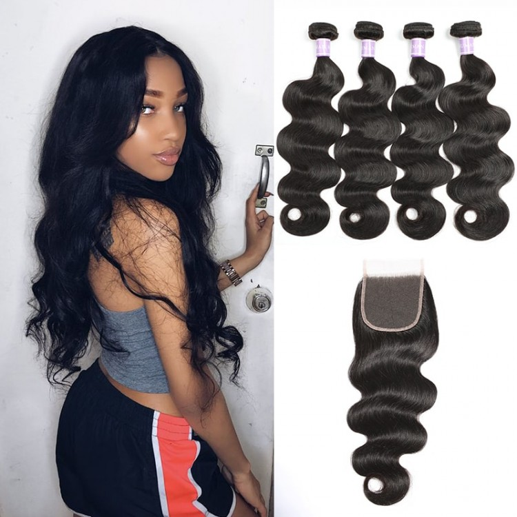 DSoar Hair Indian Remy Body Wave Hair 4 Bundles With Lace Closure