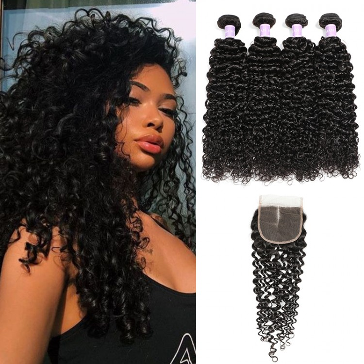 DSoar Hair Raw Indian Curly Hair 4x4 Lace Closure With 4 Bundles