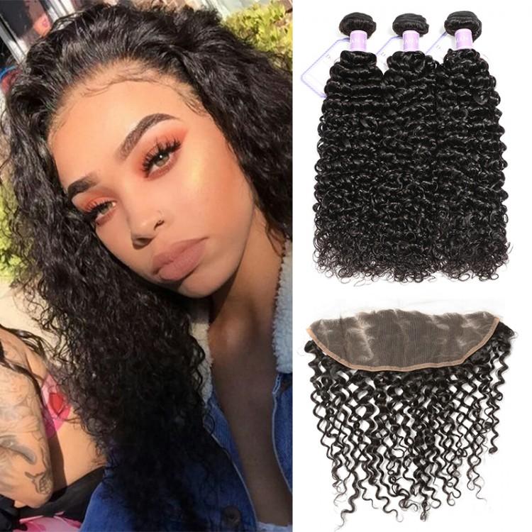 DSoar 3 Bundles Peruvian Virgin Curly Human Hair Weave With 413