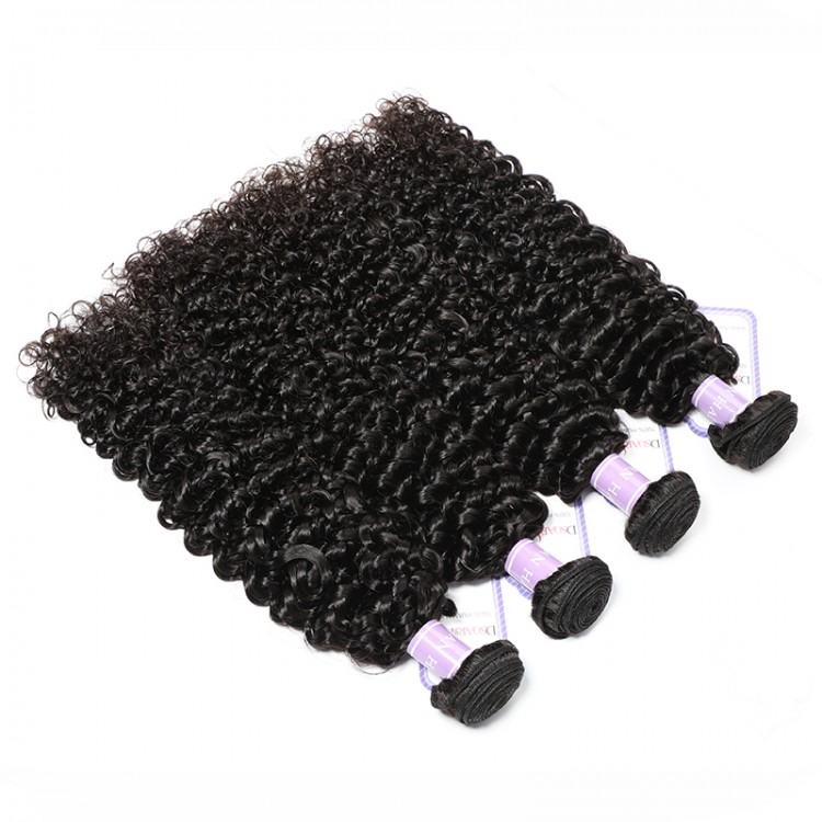 DSoar 4 bundles Indian curly human hair weave