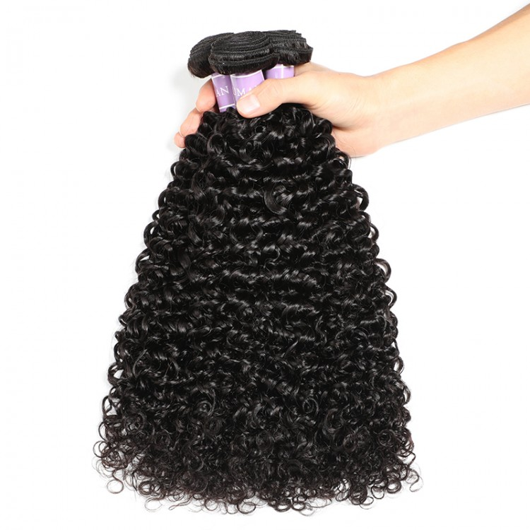 DSoar Indian curly weave 3 bundles 1B color