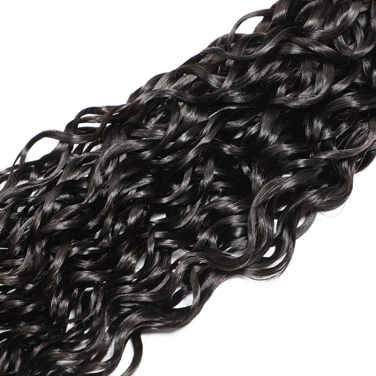 Brazilian Natural Wave Human Hair 3 Bundles With Lace Closure 4x4 Inch