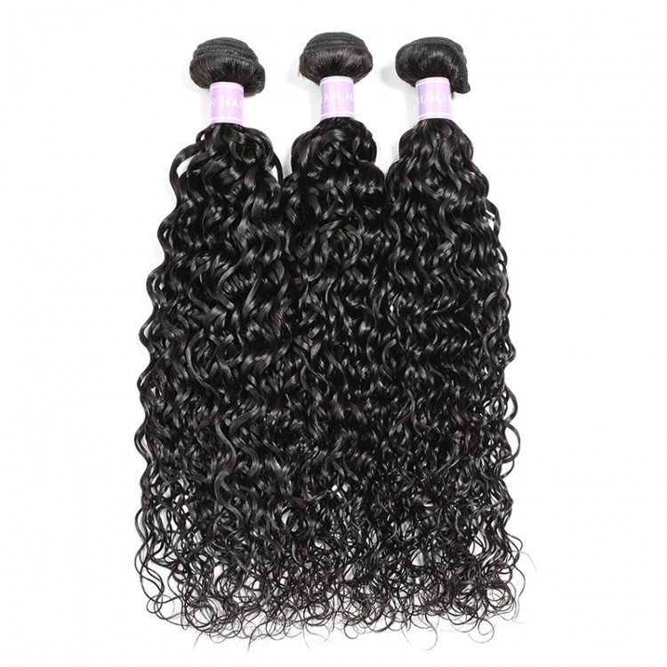 Virgin Indian Natural Wave Hair Lace Frontal Closure With 3 Bundles