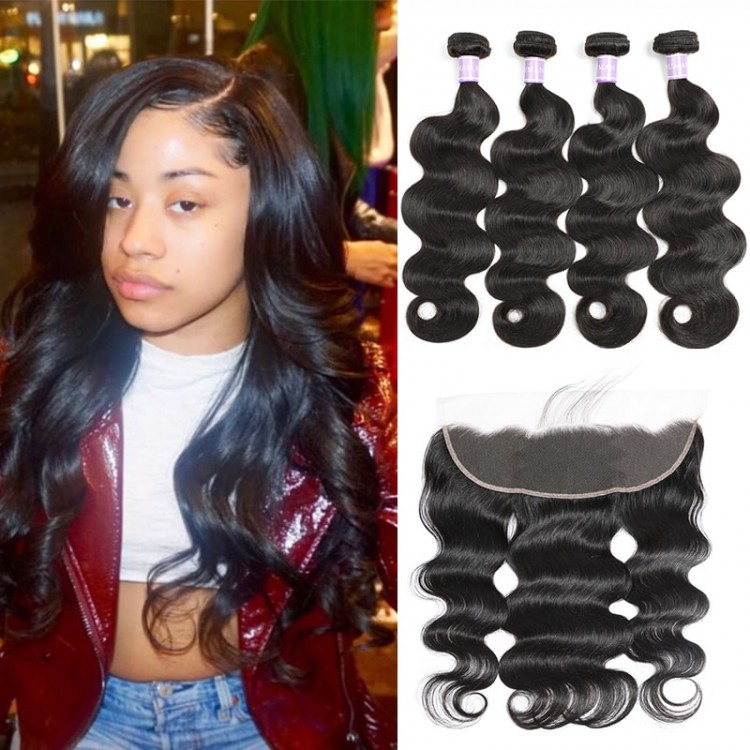 Indian Body Wave Hair 4 Bundles Deals With Lace Frontal Closure