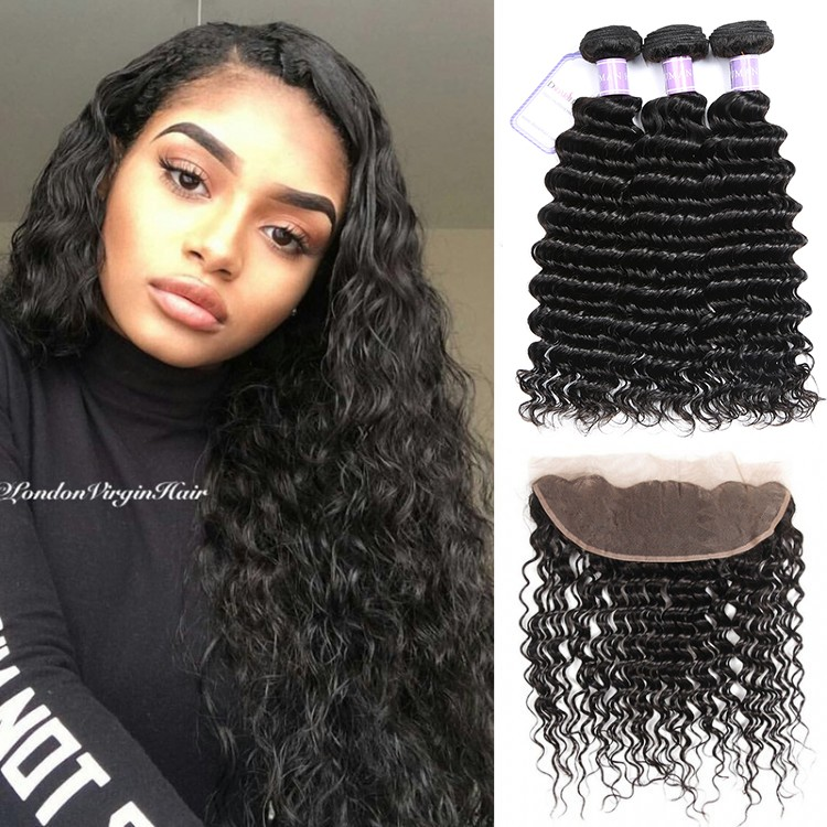 Dsoar Hair Indian Deep Wave 3 Bundles Deals With Lace Frontal