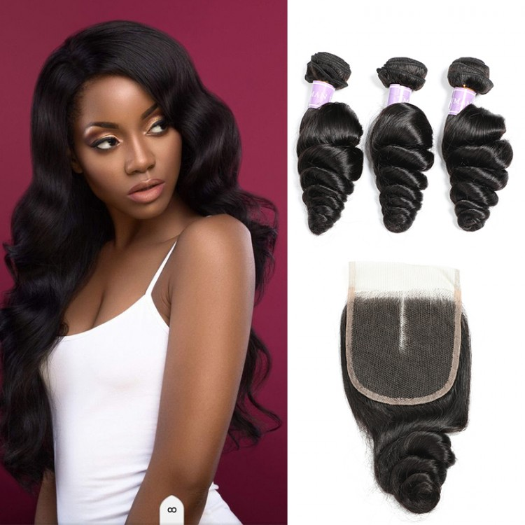 Indian Loose Wave Hair 3 Bundles With Lace Closure