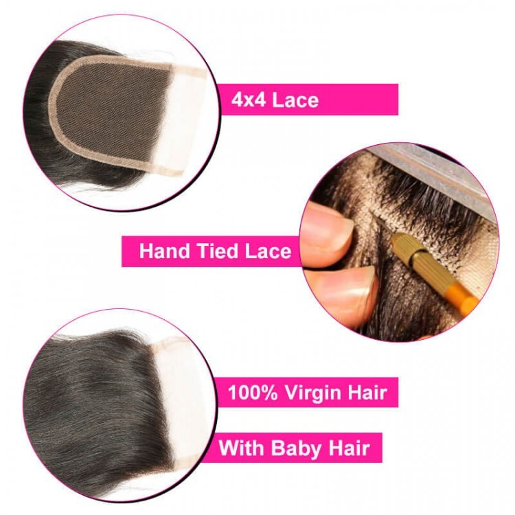 hand tied lace closure