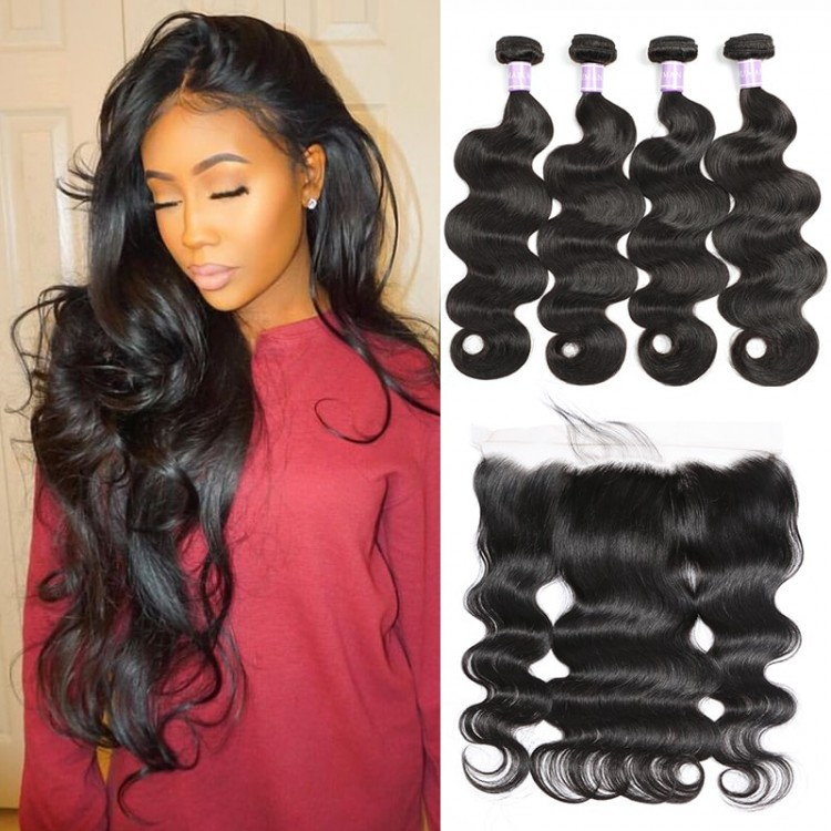 Malaysian Body Wave Hair 4 Bundles With Lace Frontal