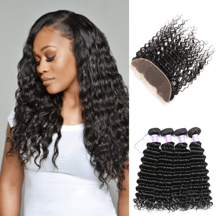 Malaysian deep wave lace frontal with 4bundles
