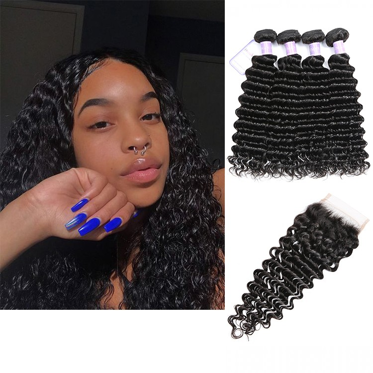 Malaysian Hair 4 Bundles With Lace Closure DSoar Hair Deep