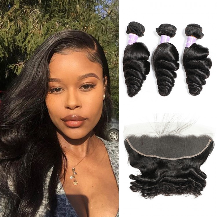 Malaysian Loose Wave Hair 3 Bundles With Lace Frontal