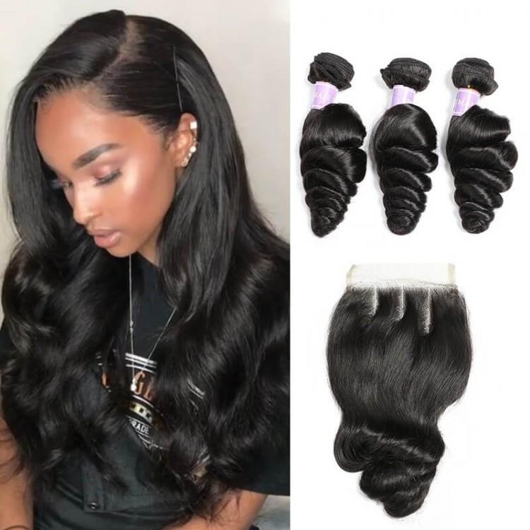 Malaysian Loose Wave Human Hair 3 Bundles With