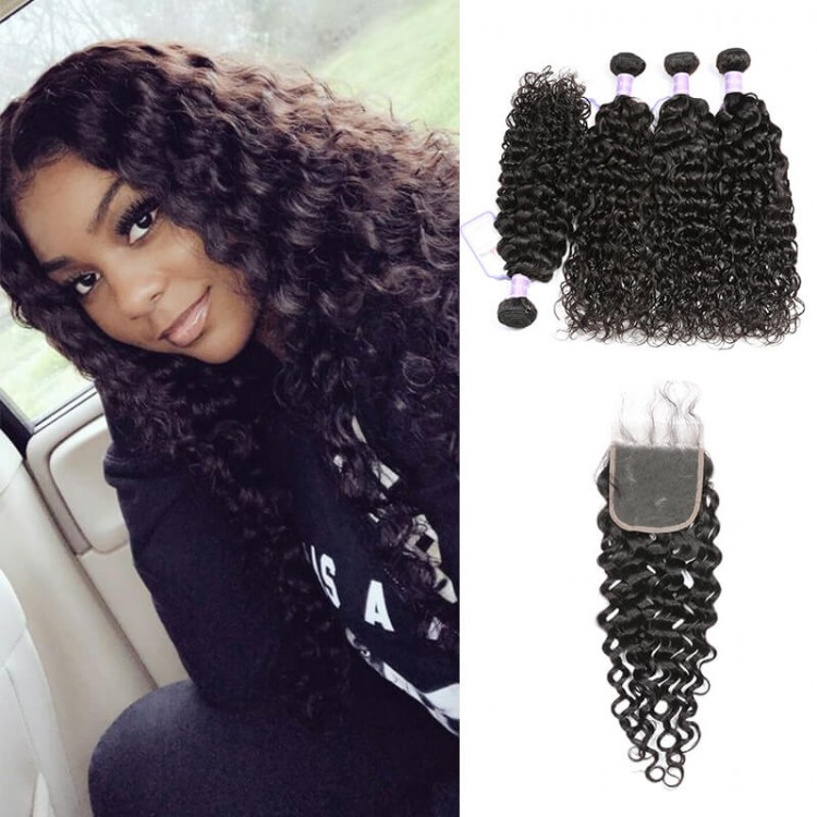 4 hair bundles with closure