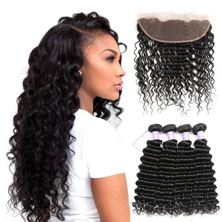 Peruvian Deep Wave Hair Weave Lace Frontal And 4