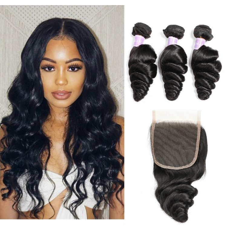 Peruvian Loose Wave Virgin Hair 3 Bundles With Lace