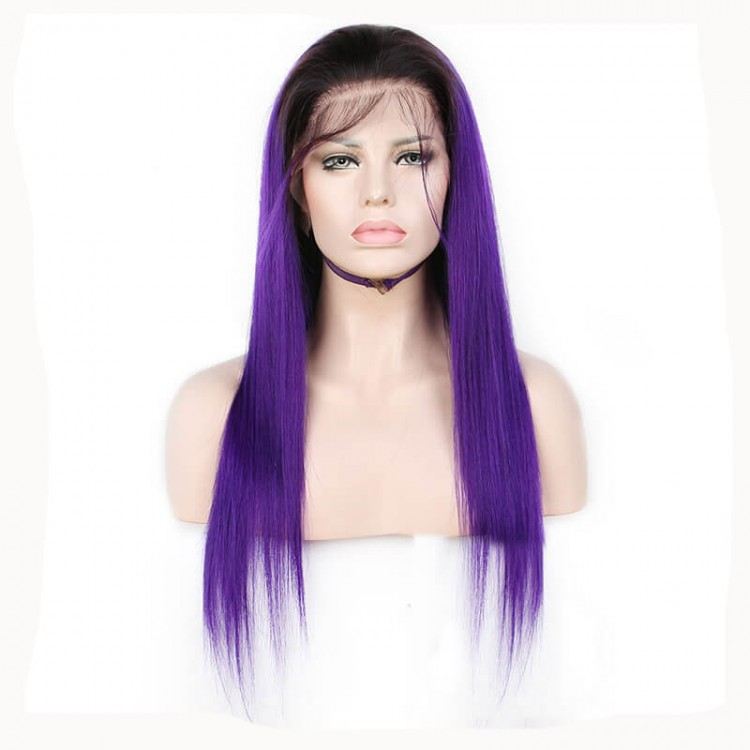 Long Purple Lace Front Wigs Sew In With Baby Hair