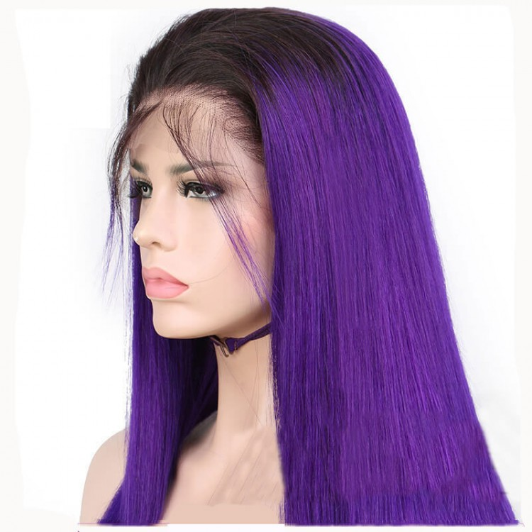 Purple Pre Plucked Best Full Lace Straight Wigs Sew In