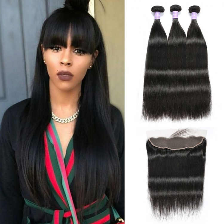 Straight Human Hair Sew In Weave 3 Bundles Deals