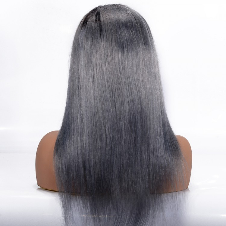 Pre-plucked  T1B/Grey  Straight Lace Front Wig100% Human Hair Wigs