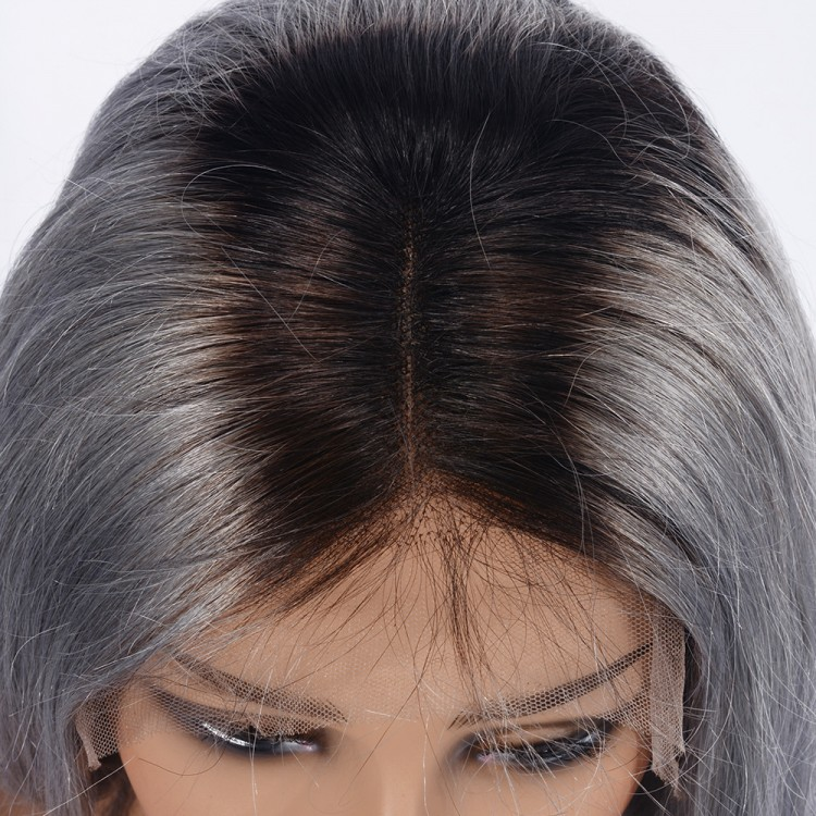 Pre-plucked  T1B/Grey Straight Lace Front Human Hair Wigs